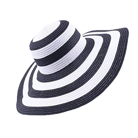 933c3db1862 Fashion Striped Straw Hats Womens Summer Beach Sun Hats Floppy Big Brim Hat   Amazon.co.uk  Kitchen   Home
