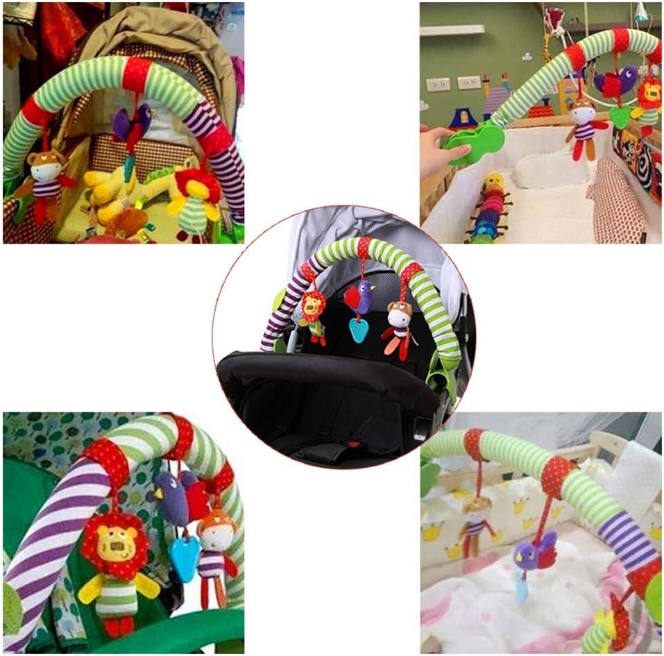 Qeedio 2 Pcs Baby Plush Stroller Clip Cartoon Animal Arch Stroller Crib Pram Activity Bar Animal Plush Toy Universal Attachment Fit Pushchair or Baby Car Seat