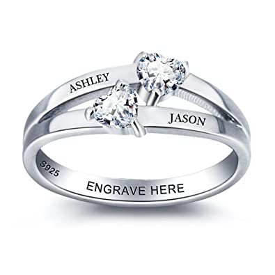 7f4db01a69646 Lam Hub Fong Free Engraving Name Engagement Rings for Women Personalized 2  Simulated Birthstone Promise Rings