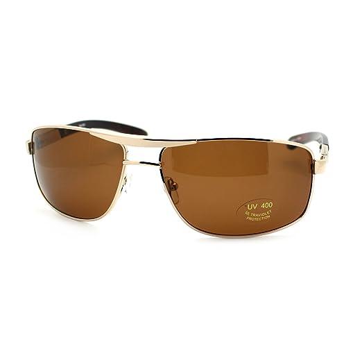 366b8102a1dc5 Mens Navigator Sunglasses Stylish Classic Rectangular Aviator Metal Frame  Gold