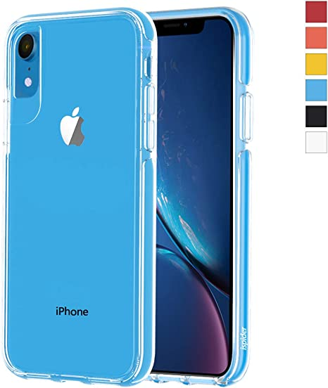 Hard PC Back and Dual-Layer Reinforced TPU Bumper Frame 3-Meter Anti-Fall Slim Case for Apple iPhone XR, - Red Ispider Crystal Clear Case Designed for iPhone XR, Premium Protective