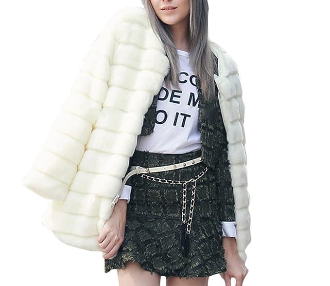 VLUNT Piel Chaqueta Abrigo de Piel Chaqueta de Invierno Mujer Parka Abrigo de Pelo sintético Blanco Blanco: Amazon.es: Ropa y accesorios