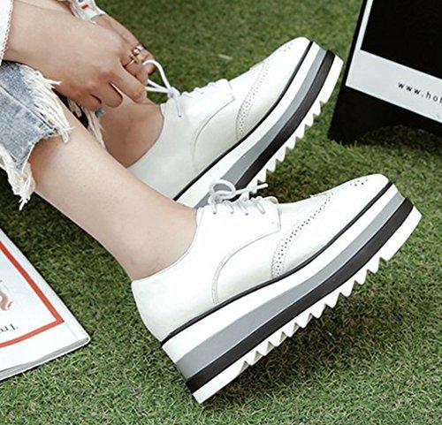 Chaussure Femme à Derbies Blanc Décontracté Easemax Compensée Lacets 6gFnxEnwq1