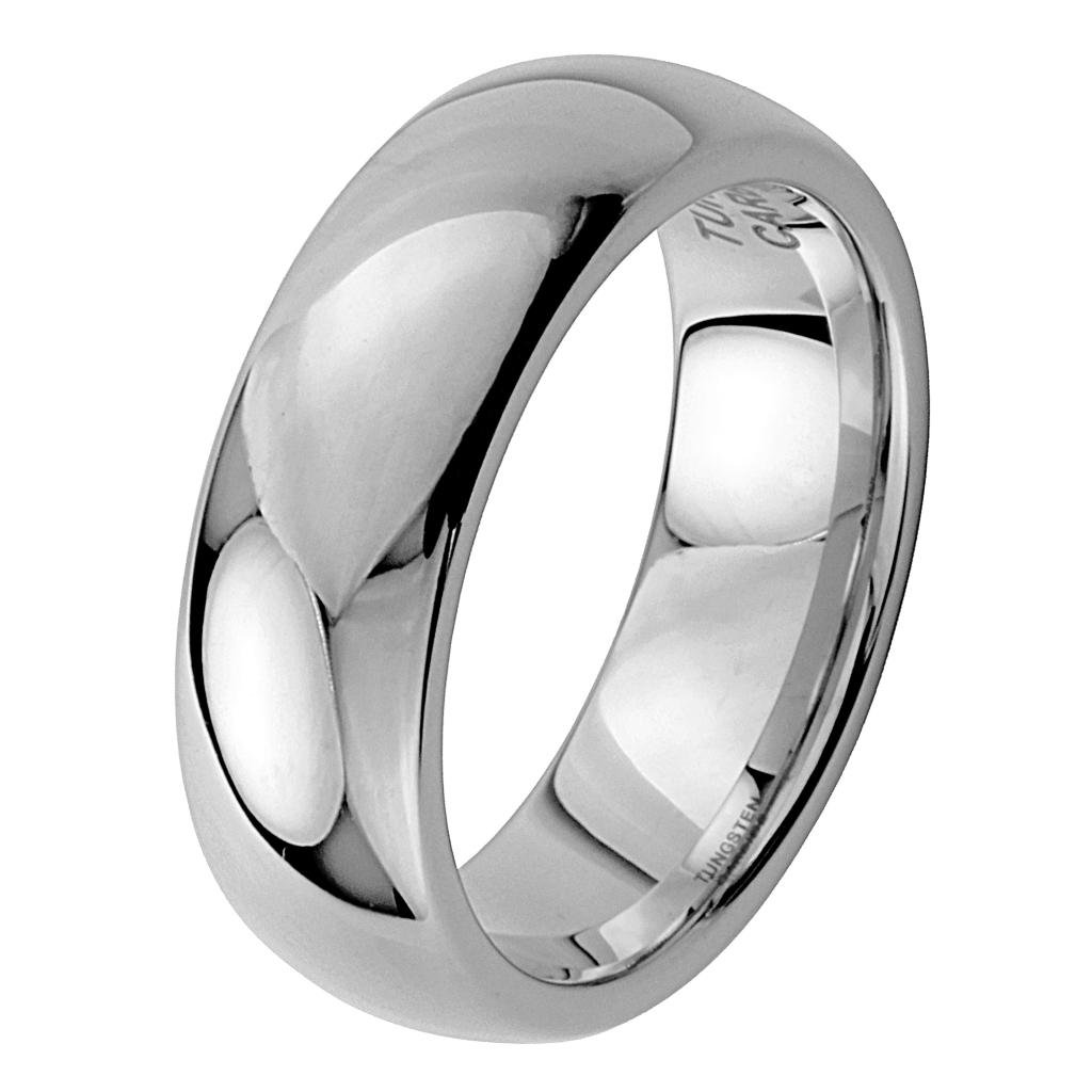 8MM Wellingsale LUXE Series Cobalt Free, CLASSIC Comfort Fit Tungsten Wedding Band Ring with Smooth Rounded Edges for Comfortable Wearing in Mirror High Polished Finish for Men and Women - Size 9.5