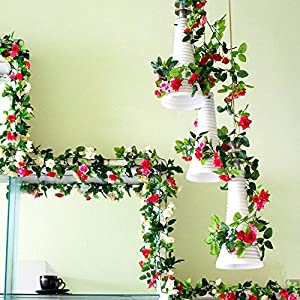 CANAFA-Home & Kitchen Artificial Flowers 1x 8 Ft Artificial Silk Rose Flower Ivy Vine Leaf Garland Wedding Party Garlands 113