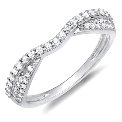 0.32 Carat (ctw) 14K Gold Diamond Ladies Bridal Anniversary Wedding Stackable Band 1/3 CT