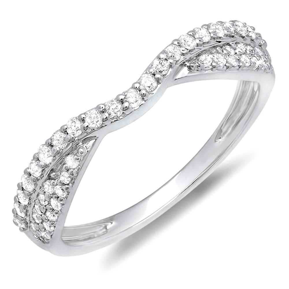 0.36 Carat (ctw) 10k White Gold Round Diamond Ladies Bridal Anniversary Wedding Stackable Band 1/3 CT (Size 5.5)