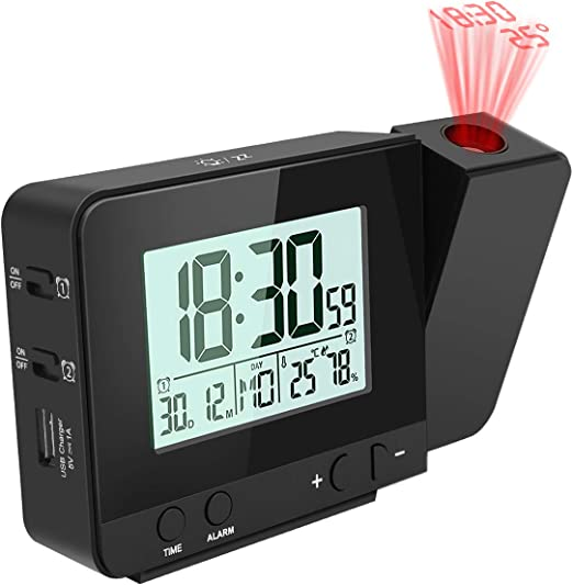 E-More Reloj Despertador Digital Despertador Proyector con ...