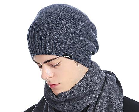73abee78 CACUSS Men's Classical 100% Australian Merino Wool Knit Beanie Hat - Winter  Warm Headwear