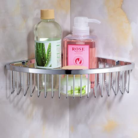 Stainless Steel Shower Caddy Corner Rack/Basket ShineMe Shampoo U0026 Gel Holder  Shelf Wall Mounted