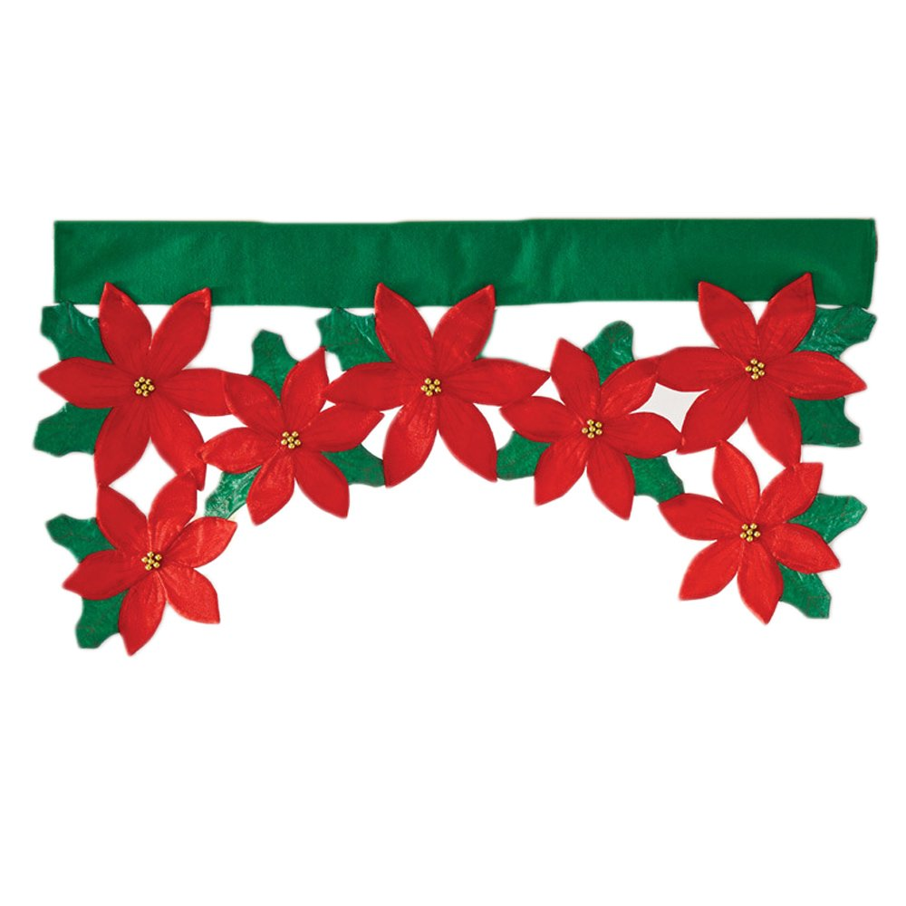 Christmas Flower Leaf Window Door Curtain Valance Christmas Home Decoration Supplies 36.22 x 18.11inch Gosear