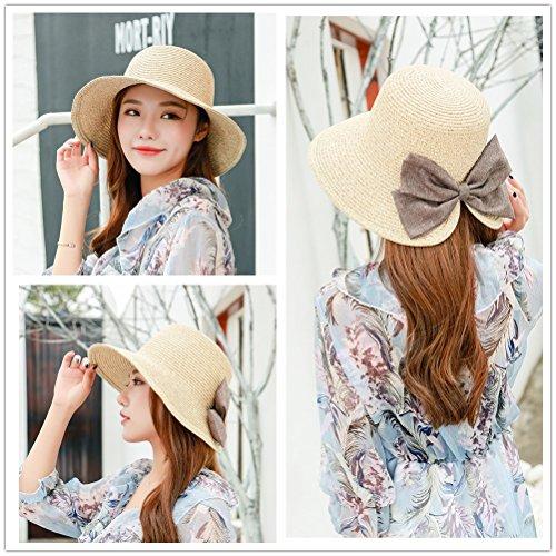 EINSKEY Womens Straw Sun Hat Bowknot Wide Brim Bucket Hat with Neck Cord for Summer Beach Fishing (Dark Beige) by EINSKEY (Image #1)