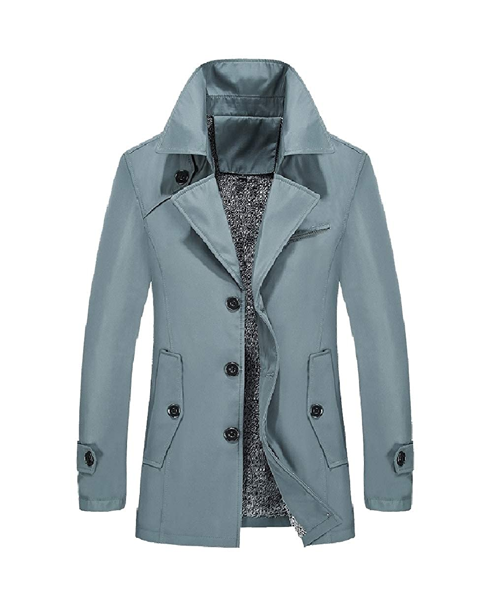 YUNY Mens Plus Size Faux Fur Lined Warm Thicken Down Jackets and Coats Sky Blue L