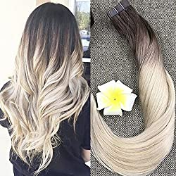 "Full Shine 22"" Tape on Hair Extensions Human Hair Full Head Real Hair Extensions Color #3 and #8 Brwon Fading to #613 Blonde Skin Weft in Hair Extensions 50g 20 Pcs Per Package"