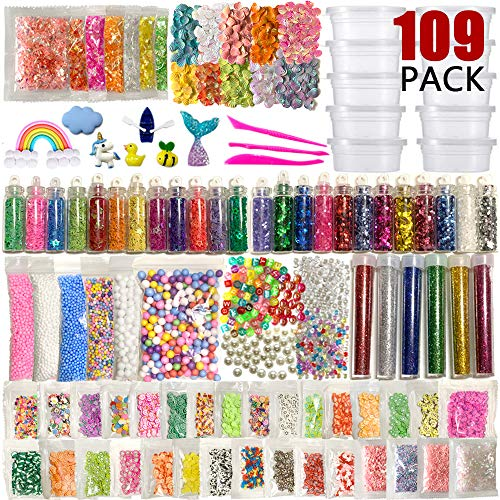 (KPOO Slime Supplies Kit, 109 Pack DIY Slime Beads Charms, Include Fishbowl Beads, Floam Balls, Glitter Jars, Shells, Sugar Papers, Glitter Confetti, Slime Making Tools and Accessories for Kid Craft)