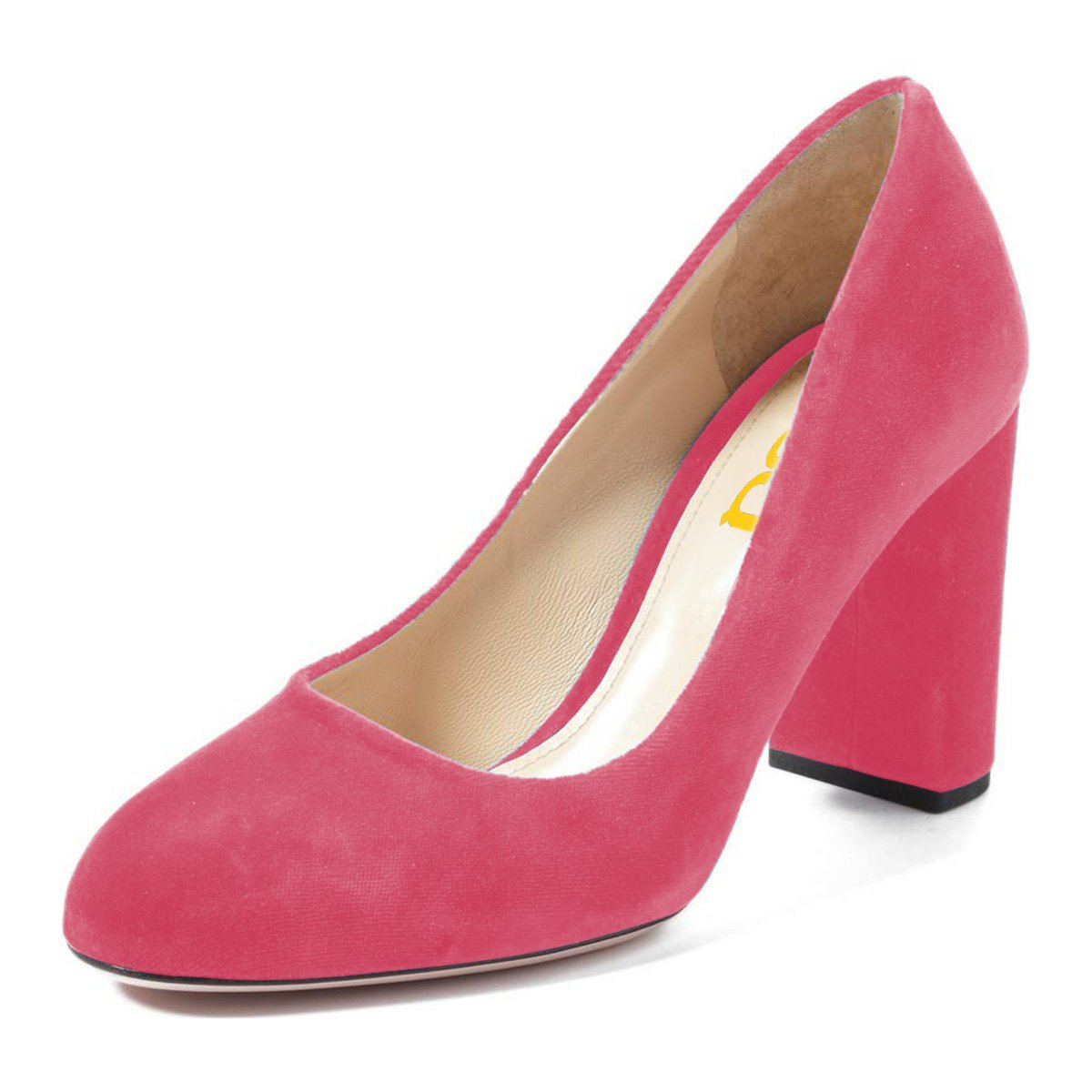 FSJ Women Classic Round Toe Velvet Pumps Chunky High Heels Slip On Office Dress Shoes Size 4-15 US B0784BN6BX 7 M US|Pink