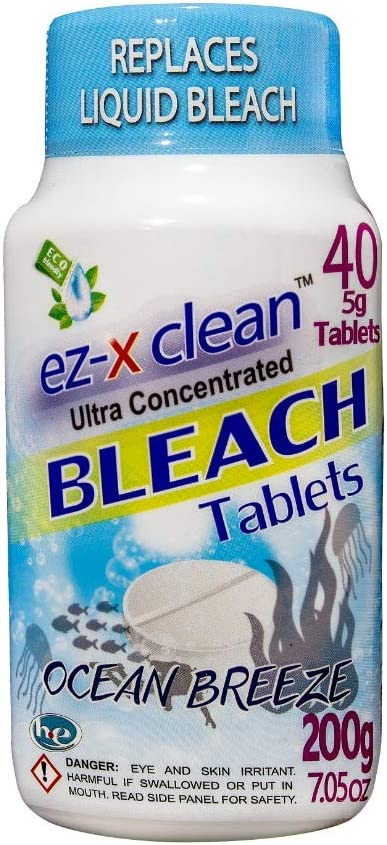 EZ-X CLEAN Ultra Concentrated Water Activated Bleach Tablets for Laundry and Multipurpose Cleaning. 40 Tablets 7.05 OZ Phosphate Free Replaces Liquid BLEACHES (Ocean Breeze)