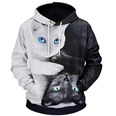 Fenleo Mens Hoodie, 3D Printed Cat Pullover Long Sleeve Hooded Sweatshirt Tops Blouse LM807011# at Amazon Mens Clothing store: