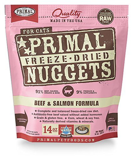 Salmon Nuggets (Primal Pet Foods Freeze-Dried Feline Beef and Salmon Formula 14oz)