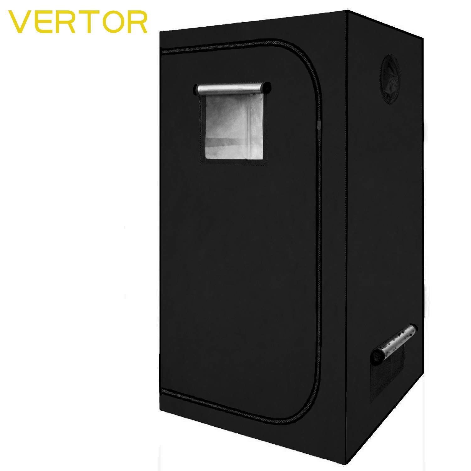 VERTOR 32 x32 x63 Reflective Mylar Hydroponic Grow Tent with Observation Window and Waterproof Floor Tray for Indoor Plant Growing 2.5×2.5 for 3 Plants