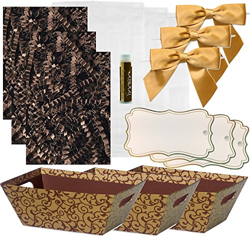 Pursito Gift Basket Making Kit Includes: Chocolate Scroll Market Tray, Crinkle Cut Paper, Cellophane Bag, Gold Satin Bow & Gift Tag -3 Total Sets Birthday, Anniversary & Graduation with bonus Lip Balm -
