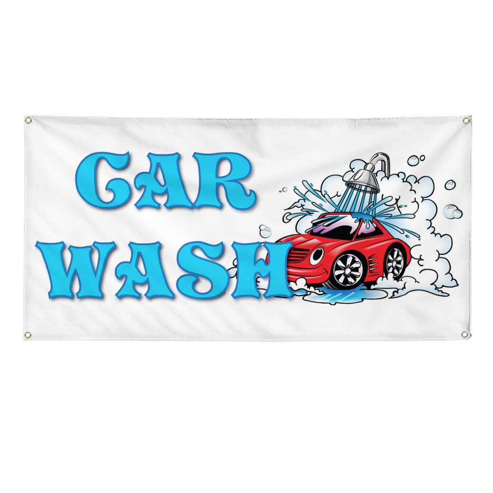 Vinyl Banner Sign Car Wash #1 Style F Automotive Clean Cars Marketing Advertising White 24inx60in Set of 3 Multiple Sizes Available 4 Grommets