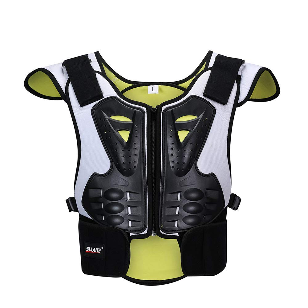 Children Protective Gear Chest Back Protector Armor Neon Color Reflective for Dirt Bike Skiing Skating Outdoor sports Size Large