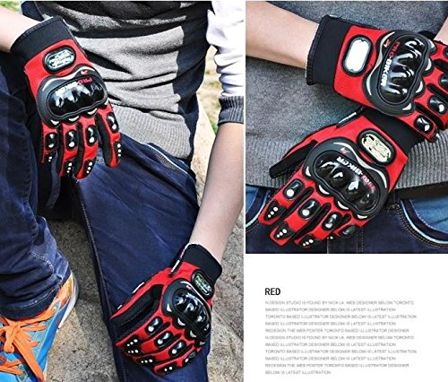 Motorcycle Accessories Sports Pro-Biker Motocross Racing Finger Protection Armor Red Gloves Size XL For 2009-2010 KAWASAKI NINJA 650R