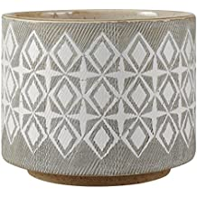 "Rivet Geometric Ceramic Planter, 4.1""H, White and Grey"
