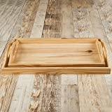 Rusticity Wooden Serving Tray for Dining / Breakfast / Coffee Table - Pine Wood - Set of 2 | Handmade |