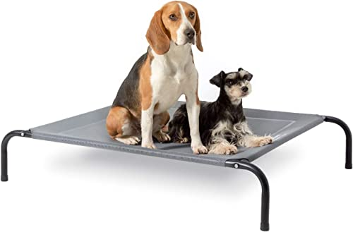 Bedsure Original Elevated Dog Cot Bed – 35 43 49 inches Raised Dog Cots for Large Medium Small Dogs, Portable Indoor Outdoor Pet Bed with Skid-Resistant Feet, Frame with Breathable Mesh Grey