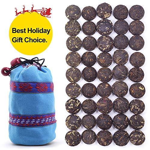 45 +Cups Aged Puerh Tea - Ripe(Shu) & Raw(Sheng) Mini Tea Cakes –Yunnan Pu-erh Tea -Rice Balls Pu erh Tea - Puer Tea Loose Leaf- Bird's Nest Shape Pu'er Mini Tuo Cha - 15 Tastes With Gift Bag
