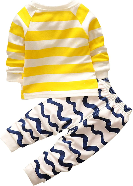 Evelin bee Baby Boys Girls 2pcs Pajamas Sets Cute Cartoon Printed Long Sleeve Tops/&Pants