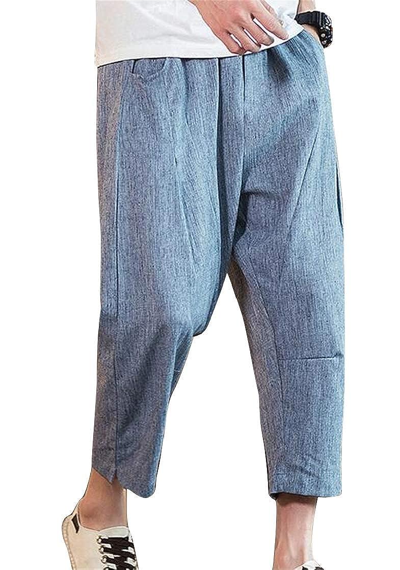 Domple Mens Plain Fashion Chinese Style Elastic Waist Linen Harem Pants