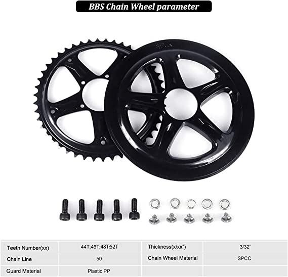 44 46 48 52 T Bafang Chainring /& cover pour BBS01 BBS02 Mid Drive