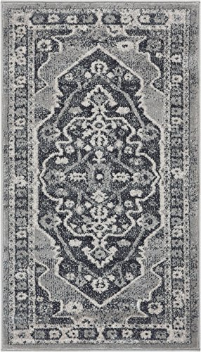 Well Woven Stanza Grey Microfiber High-Low Pile Vintage Abstract Erased Medallion 2x4 (2