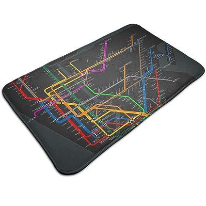 New York Subway Map Entrances.Amazon Com Jugbasee New York Subway Map Entrance Door Mat Carpet