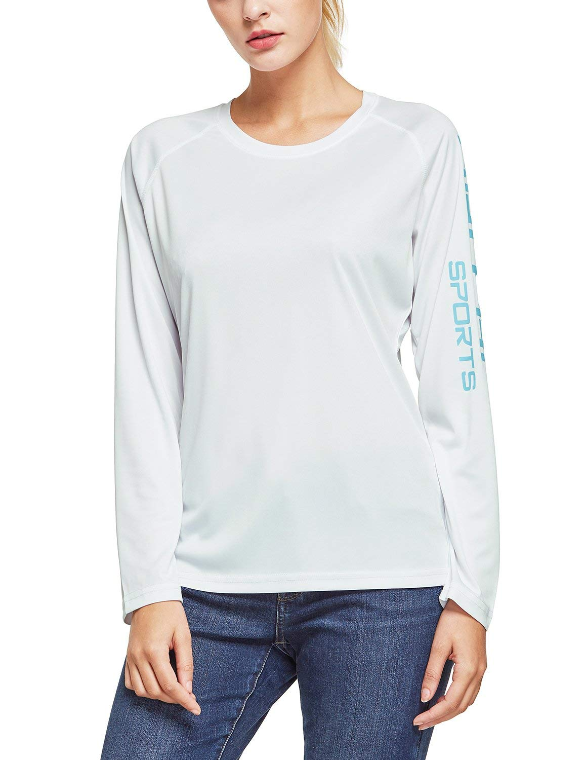 BALEAF Women's UPF 50+ Sun Protection T-Shirt Long Sleeve Outdoor Performance White Size S by BALEAF