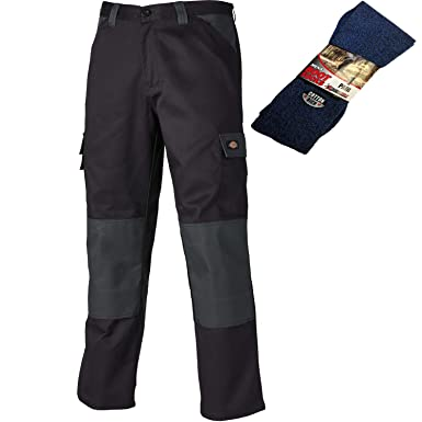 c9c9218ec09c94 Dickies Men s Everyday Work Trousers and Boot Socks (26 quot  Waist    31 quot  ...