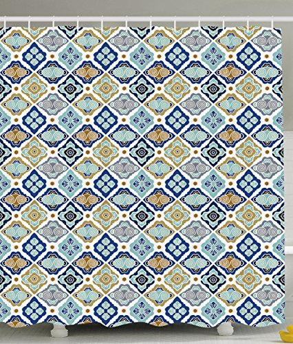 Plaid Shower Curtain Bathroom Decor by Ambesonne, Moroccan Tiles Paisley Geometric Diamonds Circles Flowers Art Print, Polyester Fabric Shower Curtain Set with Hooks, Navy Blue Brown White Olive Gray