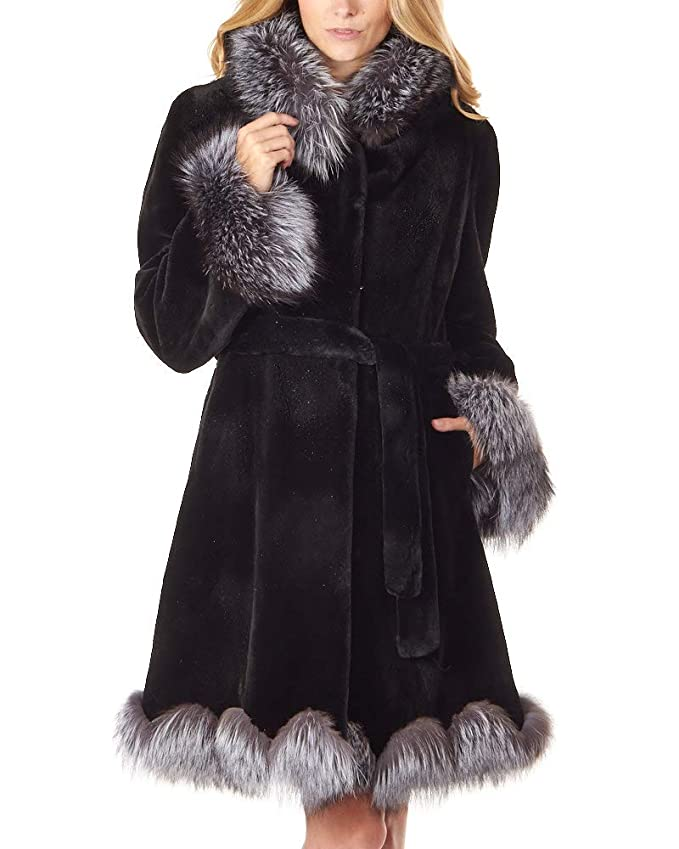 8db3070b30b0 frr Sheared Black Mink Coat with Silver Fox Trim at Amazon Women s Coats  Shop