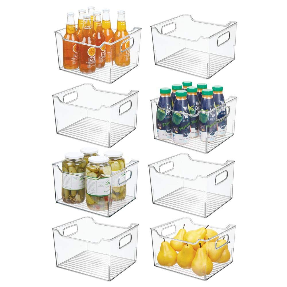 """mDesign Plastic Kitchen Pantry Cabinet, Refrigerator or Freezer Food Storage Bin Box - Deep Container with Handles - Organizer for Fruit, Vegetables, Yogurt, Snacks, Pasta 10"""" Long, 8 Pack - Clear"""