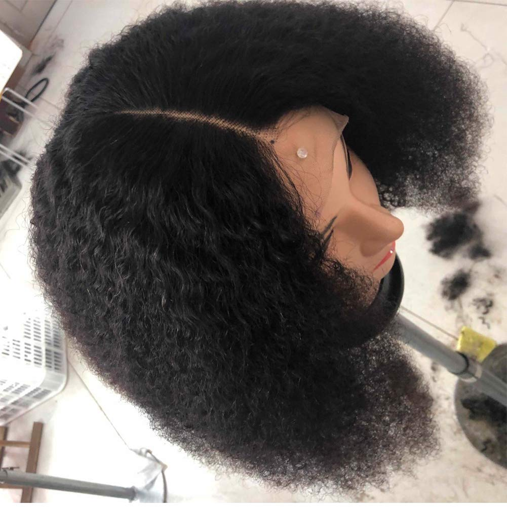 Mongolian Afro Kinky Curly 360 Lace Frontal Wig Pre Plucked With Baby Hair 4B 4C Curly 360 Full Lace Frontal Human Hair Wig For Women 150 Density Natural Black Color 16''inch by Beauty Youth (Image #4)