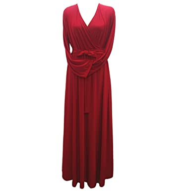 Women Plus Size Dress Maxi Dress Sexy V Neck Long Sleeve Solid Belted Party  Dress Swing Long Dress Red at Amazon Women s Clothing store  cff18a0c7c