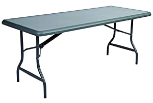 "Iceberg ICE65227 IndestrucTable TOO 1200 Series Steel Legs Plastic Folding Table, 2000 lbs Capacity, 72"" Length x 30"" Width x 29"" Height, Charcoal"