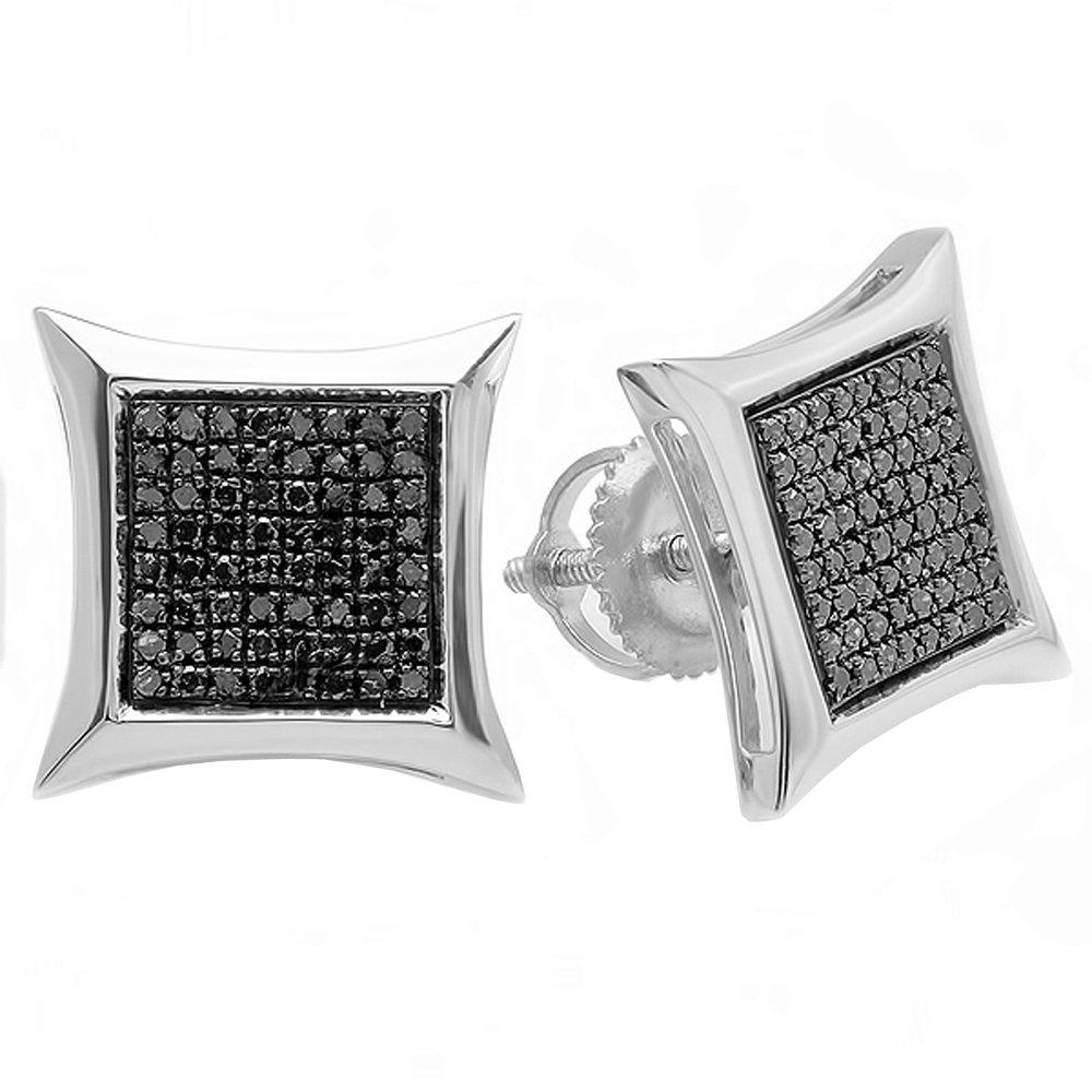 0.38 Carat (ctw) Sterling Silver Black Round Diamond Micro Pave Setting Kite Shape Stud Earrings