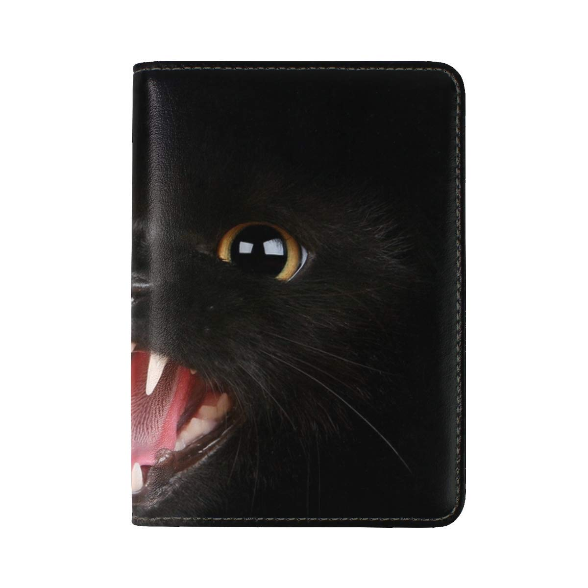 Kitten Black Eyes Aggression Teeth Meow Leather Passport Holder Cover Case Travel One Pocket