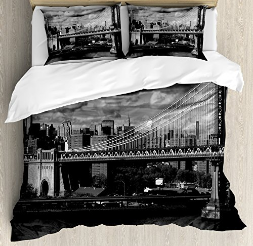 Ambesonne New York Duvet Cover Set King Size, Black and White Panorama of New York City Skyline with Focus on Manhattan Bridge Photo, Decorative 3 Piece Bedding Set with 2 Pillow Shams, Grey ()