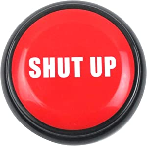 TG,LLC Treasure Gurus Funny Red Shut Up Button Alarm Novelty Office Prank Practical Joke Alert Desk Gag Gift