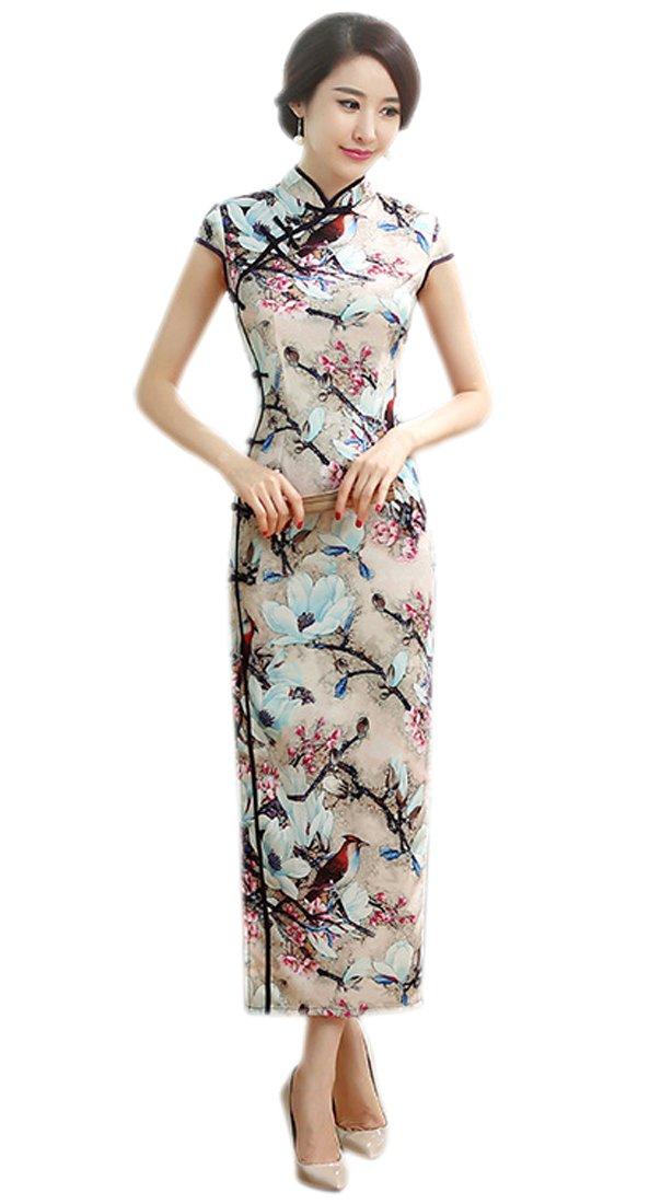 YueLian Women's Long Chinese Style Wedding Dress Qipao Cheongsam Party Dress (6, 15)